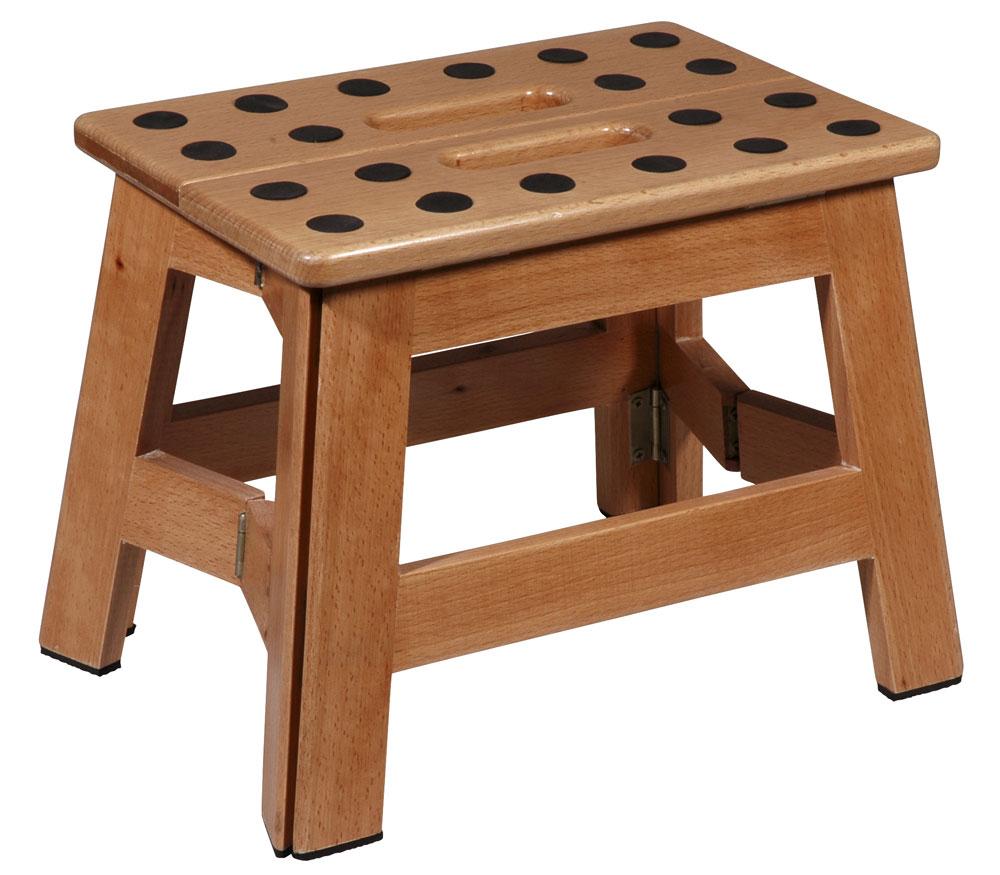 faltbarer tritt hocker james wood platzsparend aus holz kramsen. Black Bedroom Furniture Sets. Home Design Ideas