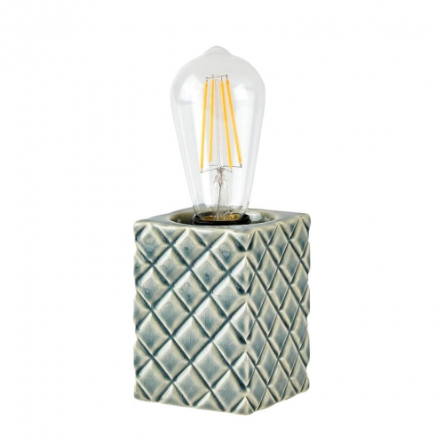 tischleuchte beton cubus aus dunklem zement mit deko. Black Bedroom Furniture Sets. Home Design Ideas