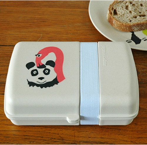 Bio Brotdose Hungry Flamingo Panda Lunchbox mit Bambus