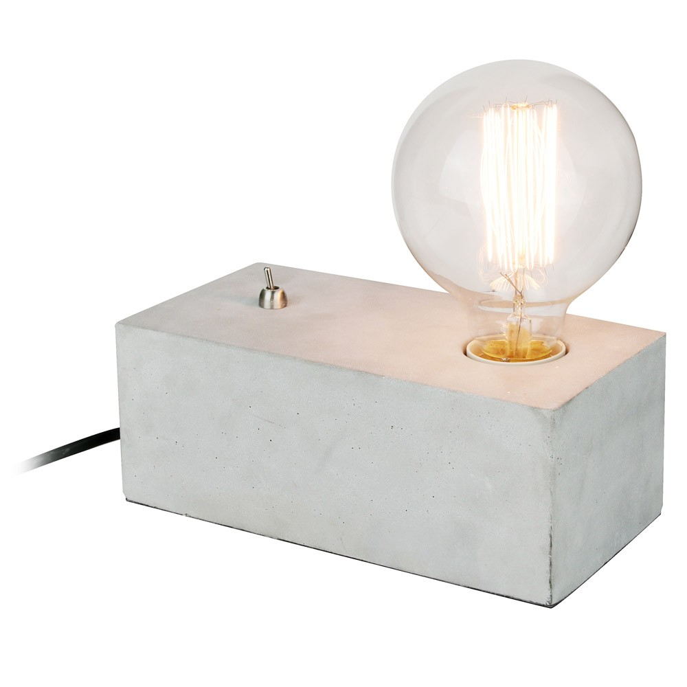 betonlampe switch on mit metallschalter gl hbirne kramsen. Black Bedroom Furniture Sets. Home Design Ideas
