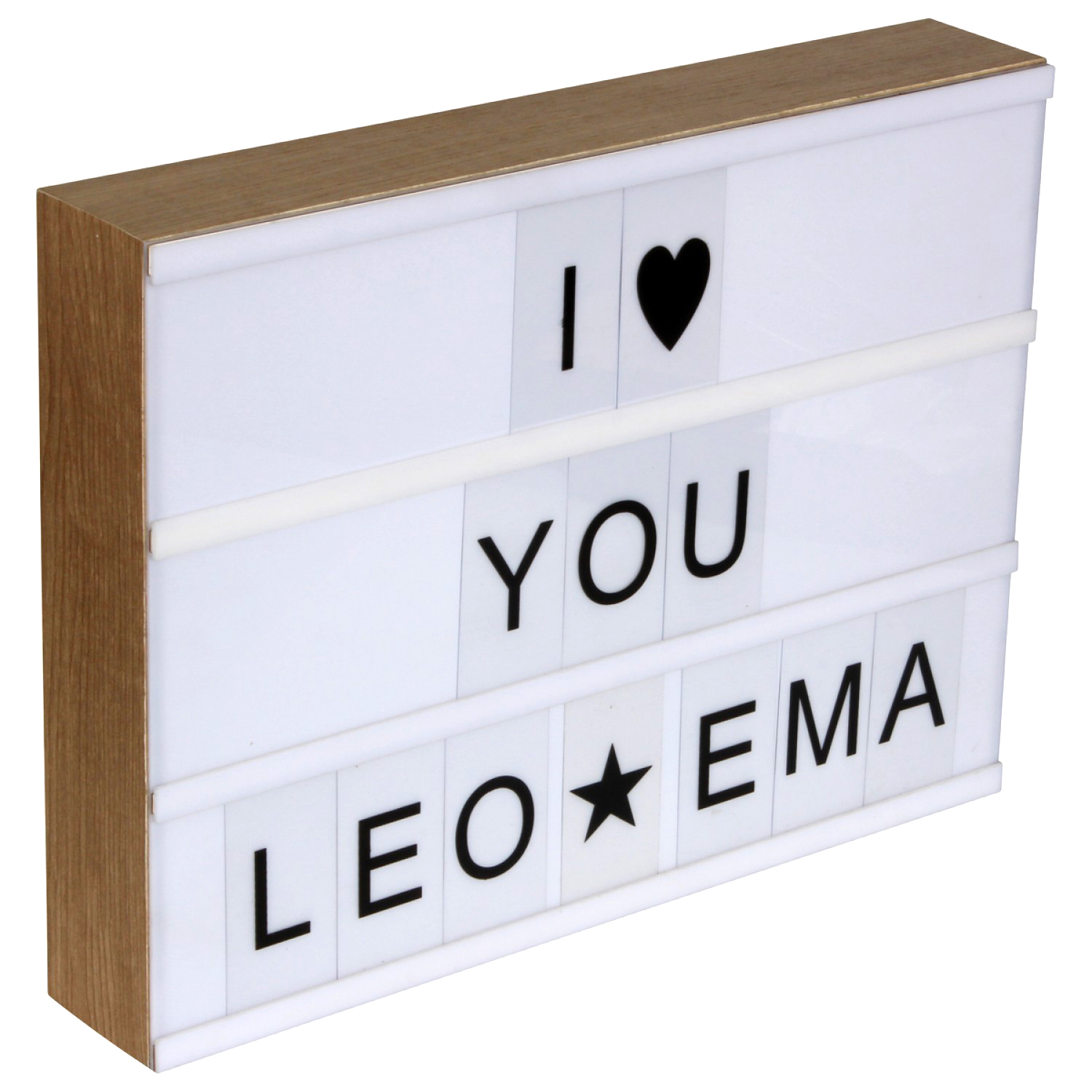 lightbox led leuchtkasten holz mit 95 buchstaben kramsen. Black Bedroom Furniture Sets. Home Design Ideas