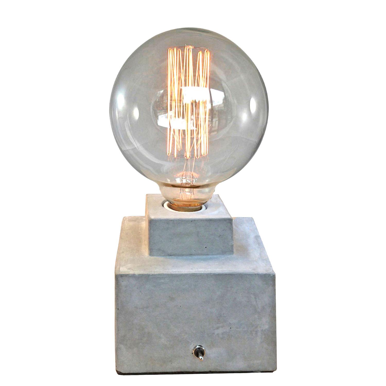 tischleuchte beton w rfel metall schalter lampe kramsen. Black Bedroom Furniture Sets. Home Design Ideas