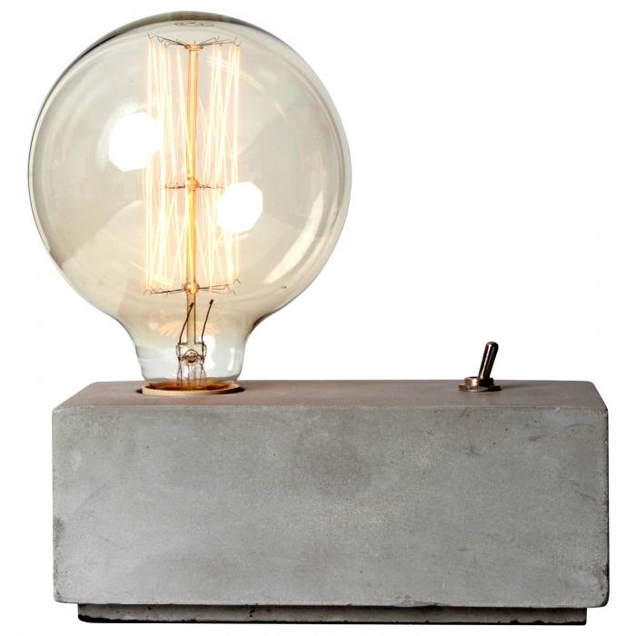 tischleuchte beton mit schalter concrete lampe kramsen. Black Bedroom Furniture Sets. Home Design Ideas