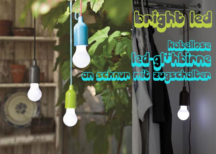 Kabellose LED-Lampe Zugschalter Schnur Edison-Glühbirne Ø9.5cm GROSS Innen Außen
